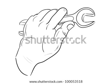 Man's hand with wrench. Sketch illustration. - stock vector