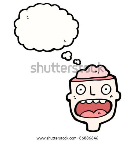 man's head with exposed brain thinking - stock vector