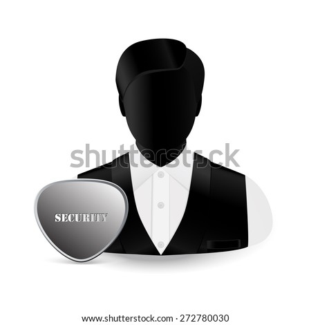 """man's icon in a black sleeveless jacket and a white shirt and the sign """"security"""" - stock vector"""