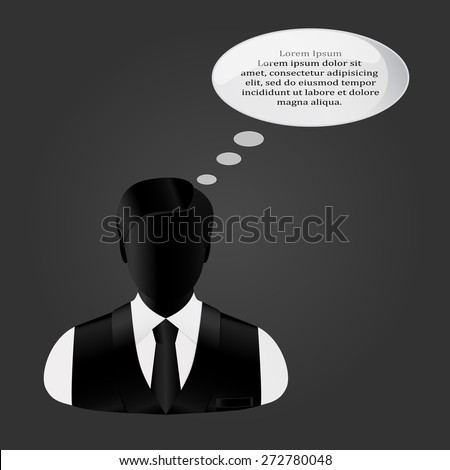 man's icon in a suit and a tie thinks - stock vector