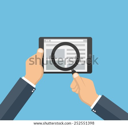 Man searching on the internet concept. Hand holding a tablet and a magnifying glass - stock vector