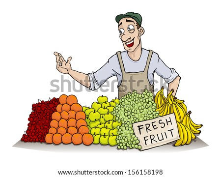 Man selling various fruit, vector illustration - stock vector