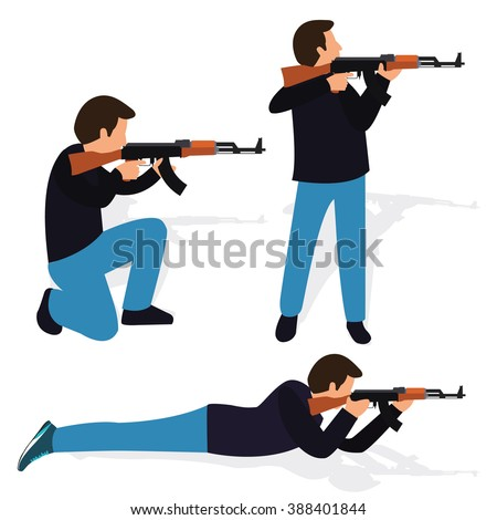 man shooting rifle gun weapon position shot action firearm standing prone kneeling aim target automatic machine gun - stock vector