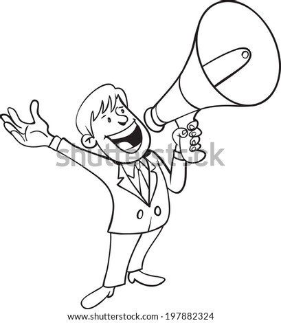 Man shouting with megaphone - stock vector