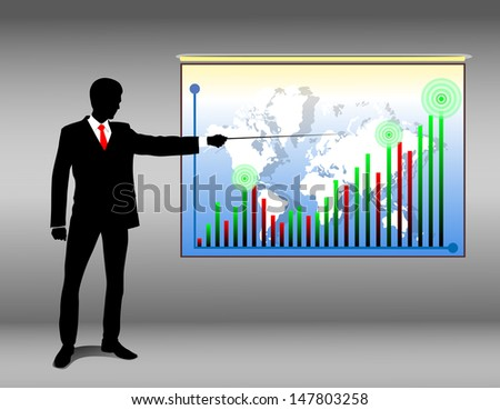 man showing on the growing chart, showing the growing income - stock vector