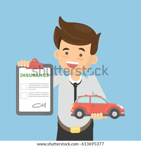 Man shows car insurance. Happy boy holds car and document.