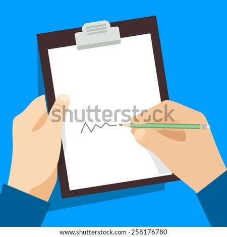 Man signs document  handle puts his signature cartoon flat design style. Vector design template - stock vector