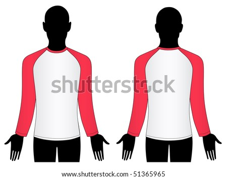 Man silhouette (front, back) with raglan sleeve t-shirt - stock vector