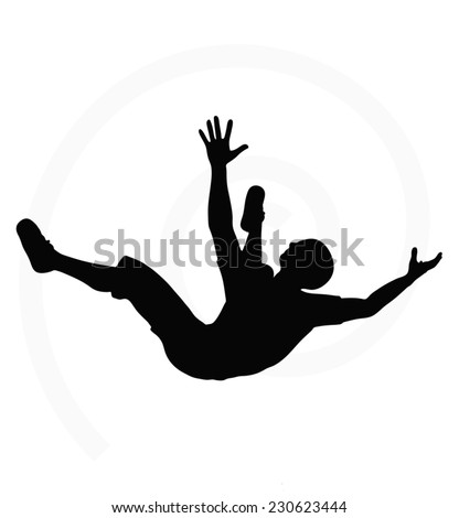 man silhouette isolated on white background  -  in falling pose - stock vector