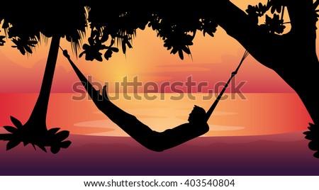 Man Silhouette Lying In Hammock Beach Vacation Flat Vector Illustration - stock vector