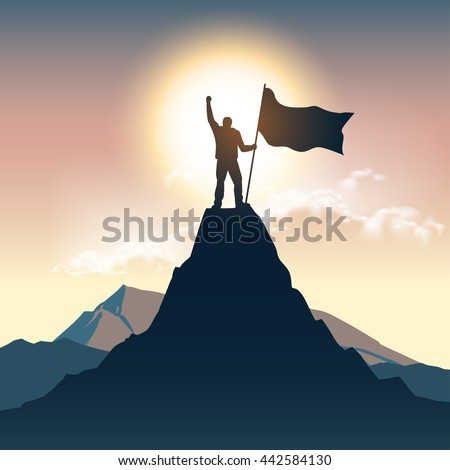 Man silhouette on mountain top - stock vector