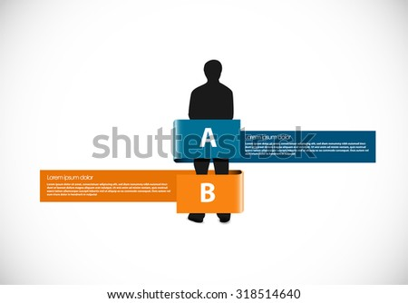 Man silhouette with ribbon - stock vector