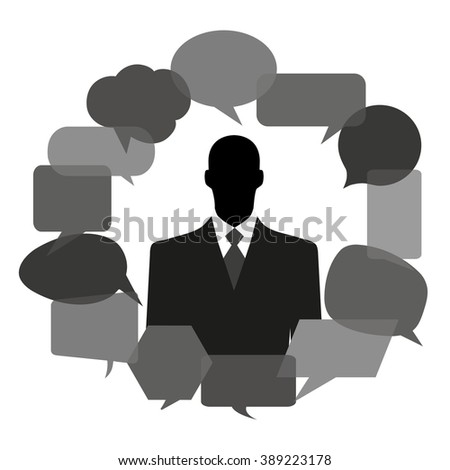 Man silhouette with thought bubbles - stock vector