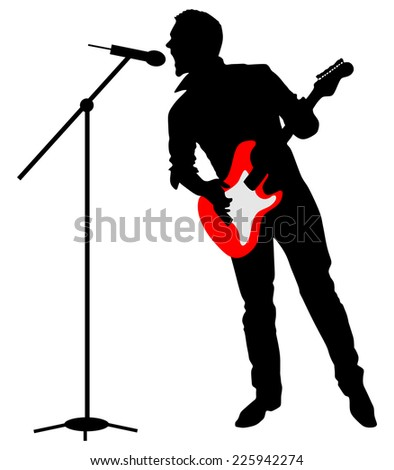 Man singing with a microphone, vector
