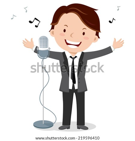 Man singing. Young man singing with microphone. - stock vector