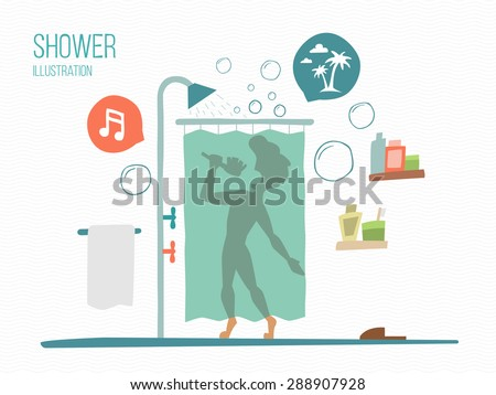 man sings in a shower - stock vector