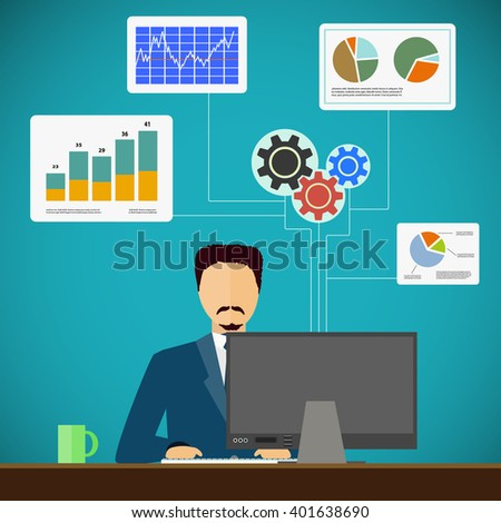 Man sits on the workplace at the computer. Financial and statistical graphs and charts. Flat graphic. Stock vector illustration. - stock vector