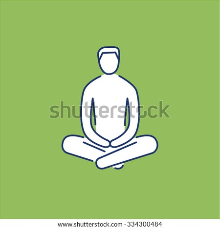Man sitting and relaxing in meditation position white linear icon on green background | flat design alternative healing illustration and infographic - stock vector