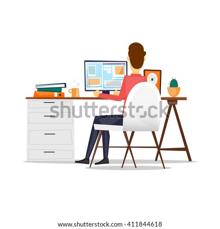 Man sitting at a desk and working on the computer back view, on an isolated background. Flat design vector illustration. - stock vector