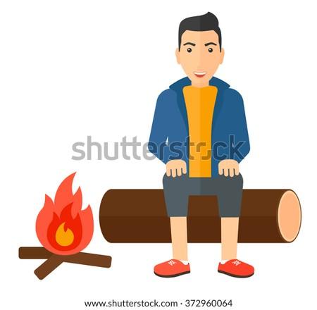 Man sitting at camp. - stock vector