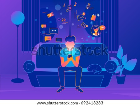 Man sitting at home on the couch and texting messages using smartphone. Gradient line vector illustration of social networking, reading news, sending email and texting friends. Internet addicted teens