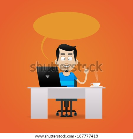 Man sitting at table and smiling - stock vector