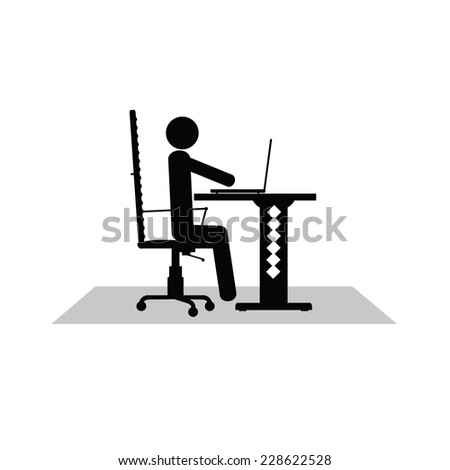 man sitting at the computer vector silhouette illustration - stock vector