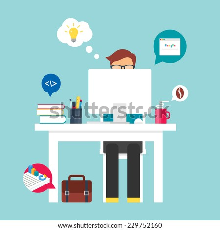 Man sitting at the desktop and working on the computer. Vector illustration for web, flat style  - stock vector