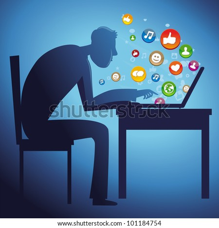 man sitting at the table with laptop - social network concept - vector - stock vector