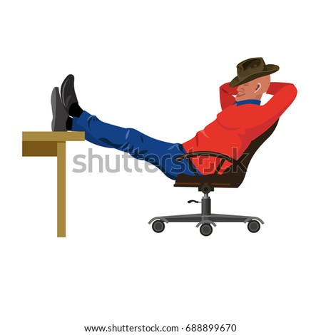 Man sitting in chair with legs on table. Vector illustration