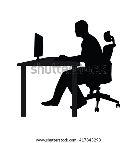 Man sitting on office chair at table and working on computer. Side view. Vector silhouette. Man working in office at desk and staring into monitor - stock vector