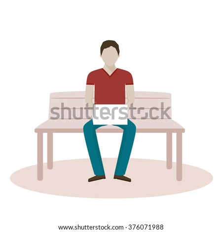 Man sitting on the bench and working with laptop / Vector illustration and flat disign - stock vector