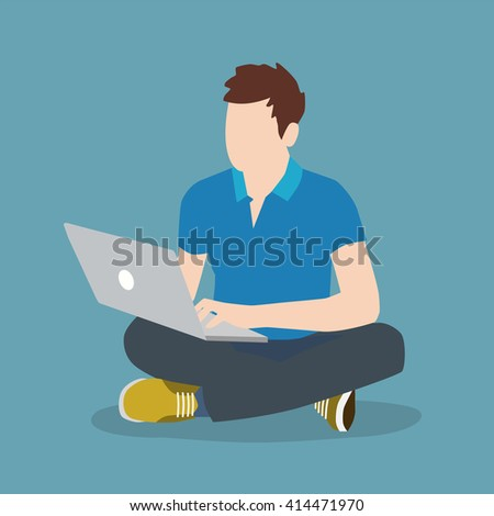 Man sitting on the floor and playing on the computer, trendy flat design, suitable for advertising, posters, promotional products, vector illustration - stock vector