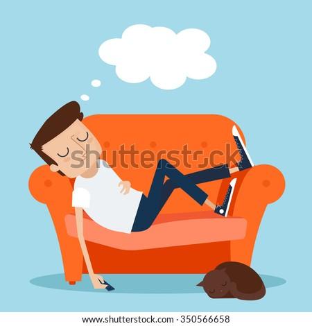 Man Sleeping at Home on Sofa. Vector Illustration - stock vector