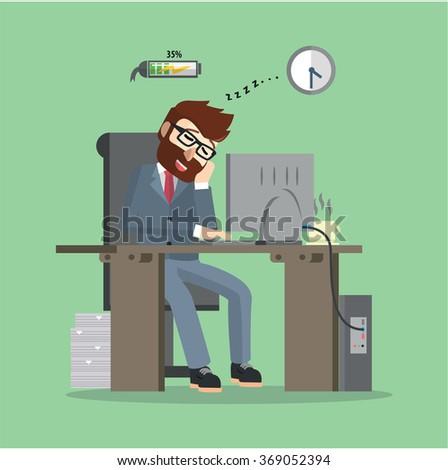 Man sleeping at work - stock vector
