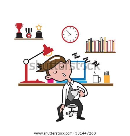 Man sleeping at work cartoon drawing - stock vector