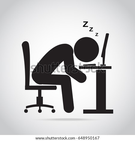 Man sleeping front of computer on work table icon