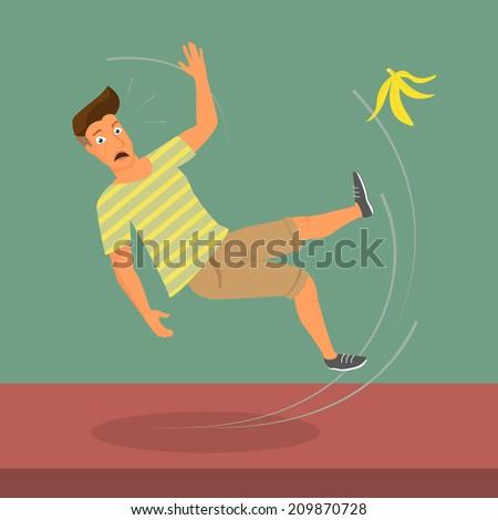 Man slipped on a banana. vector illustration - stock vector