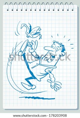 Man slipping on a banana. - stock vector