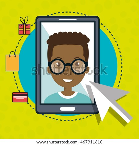 man smartphone shopping online vector illustration graphic