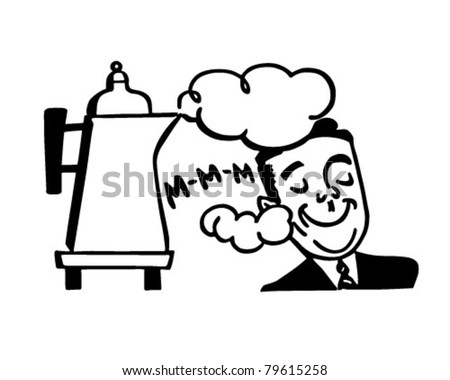 Man Smelling Fresh Coffee - Retro Clipart Illustration - stock vector
