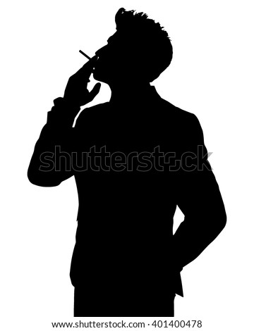 Man smoking silhouette - stock vector