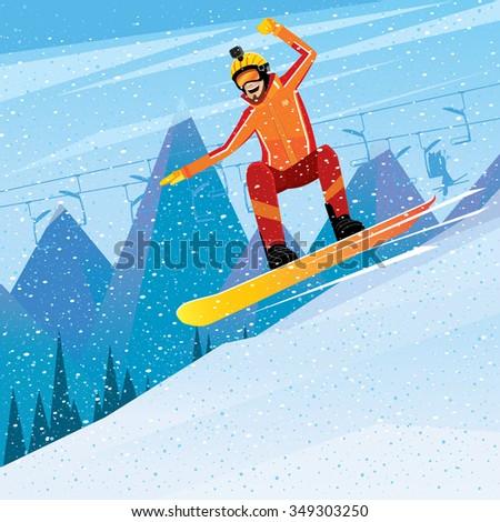 Man snowboarding with a video camera on helmet - winter sport concept. Vector illustration - stock vector