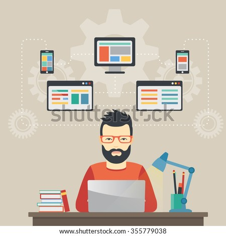Man software engineer concept with design, optimization, responsive and developer solutions. - stock vector