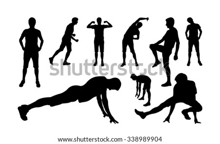 Man sports exercising silhouettes - stock vector