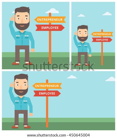 Man standing at road sign with two career pathways. Man choosing career pathway. Man making a decision of his career pathway. Vector flat design illustration. Square, horizontal, vertical layouts. - stock vector