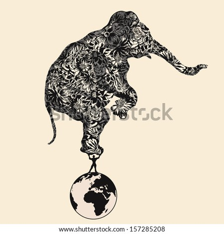 Man standing on earth lifts flower elephant. - stock vector
