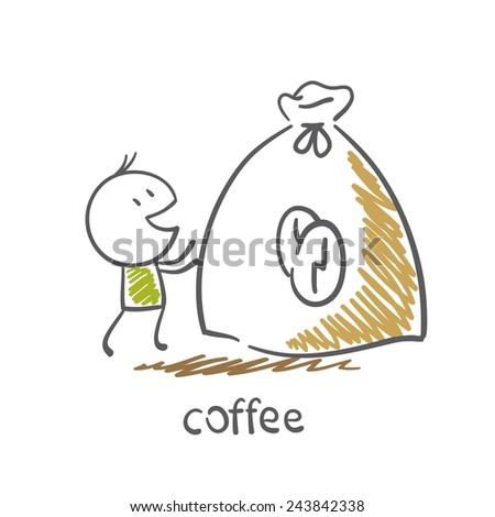 man stands next to a large bag of coffee illustration - stock vector