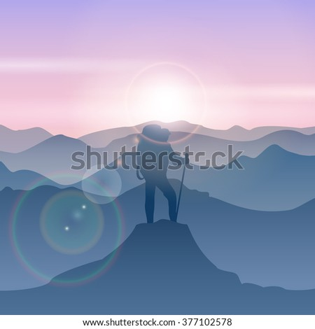 Man stands on the mountain peak. Hiking top. Vector illustration - stock vector
