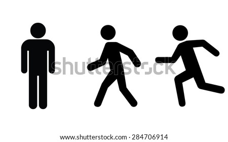 Man stands , walk and run icon set - stock vector